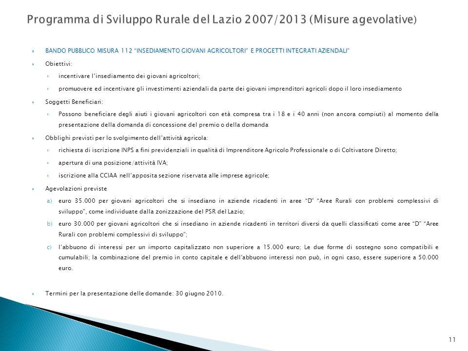 Programma di Sviluppo Rurale del Lazio 2007/2013 (Misure agevolative)