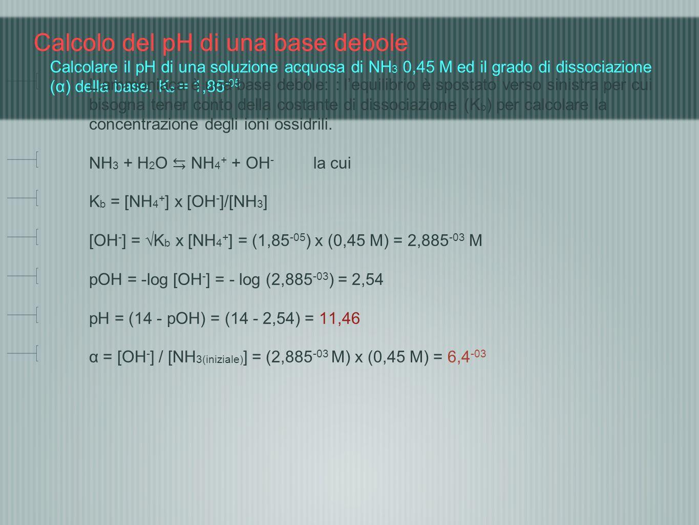Calcolo del pH di una base debole Calcolare il pH di una soluzione acquosa di NH3 0,45 M ed il grado di dissociazione (α) della base. Kb = 1,85-05