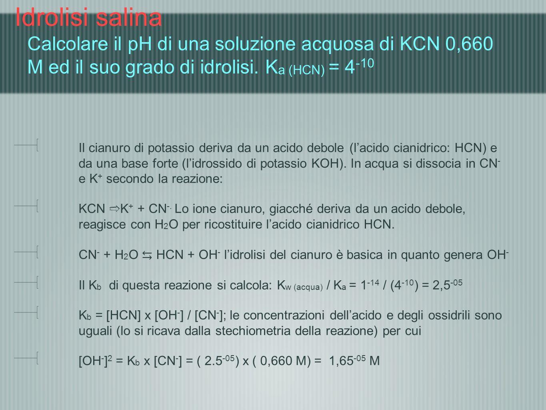 Idrolisi salina Calcolare il pH di una soluzione acquosa di KCN 0,660 M ed il suo grado di idrolisi. Ka (HCN) = 4-10