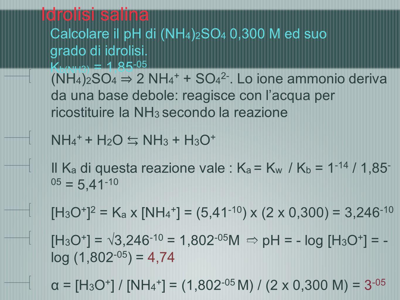 Idrolisi salina Calcolare il pH di (NH4)2SO4 0,300 M ed suo grado di idrolisi. Kb(NH3) = 1,85-05