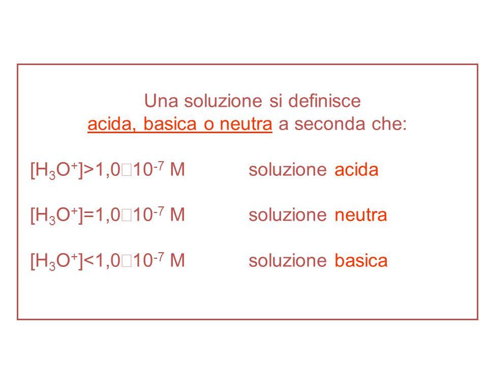 Una soluzione si definisce acida, basica o neutra a seconda che: