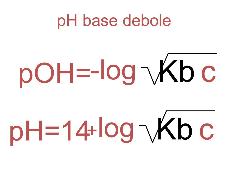 pH base debole -log Kb c pOH= +log Kb c pH=14