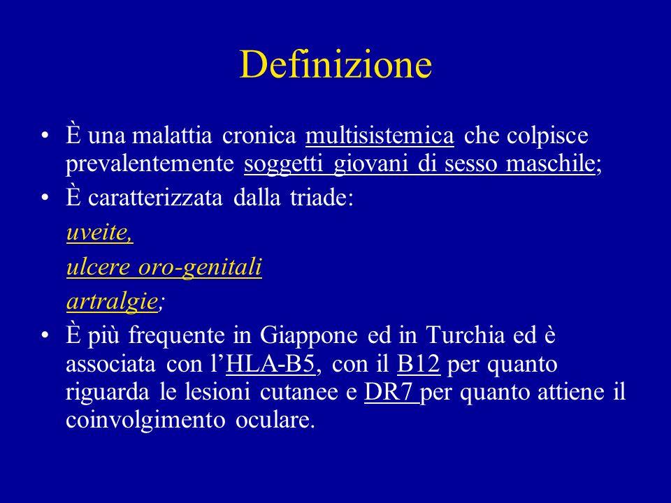 DefinizioneÈ una malattia cronica multisistemica che colpisce prevalentemente soggetti giovani di sesso maschile;