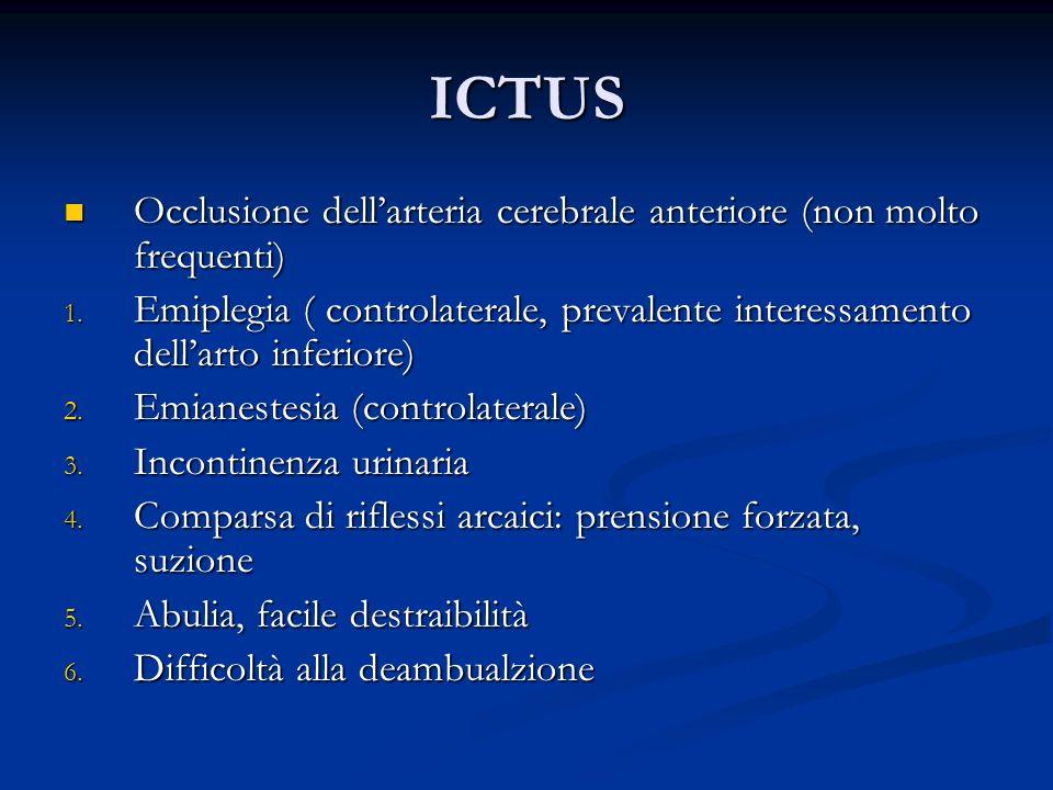 ICTUS Occlusione dell'arteria cerebrale anteriore (non molto frequenti) Emiplegia ( controlaterale, prevalente interessamento dell'arto inferiore)