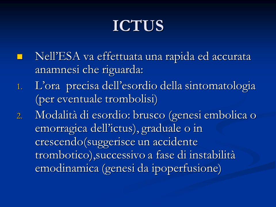 ICTUS Nell'ESA va effettuata una rapida ed accurata anamnesi che riguarda: