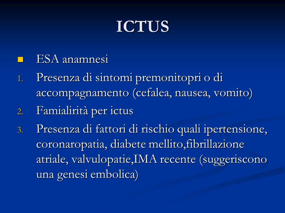 ICTUS ESA anamnesi. Presenza di sintomi premonitopri o di accompagnamento (cefalea, nausea, vomito)
