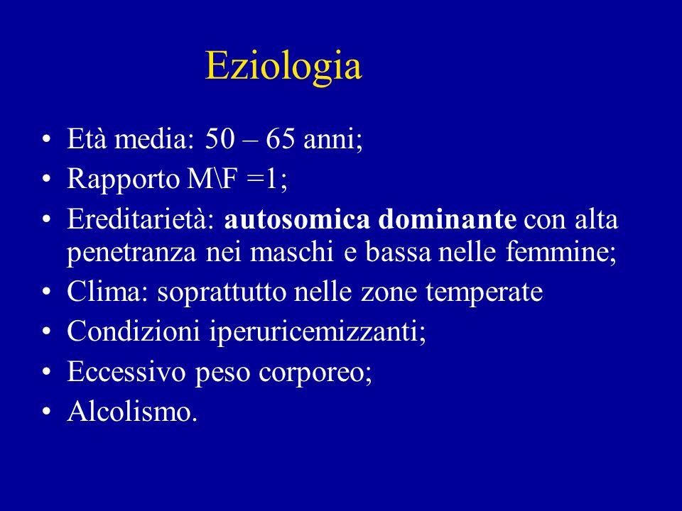 Eziologia Età media: 50 – 65 anni; Rapporto M\F =1;
