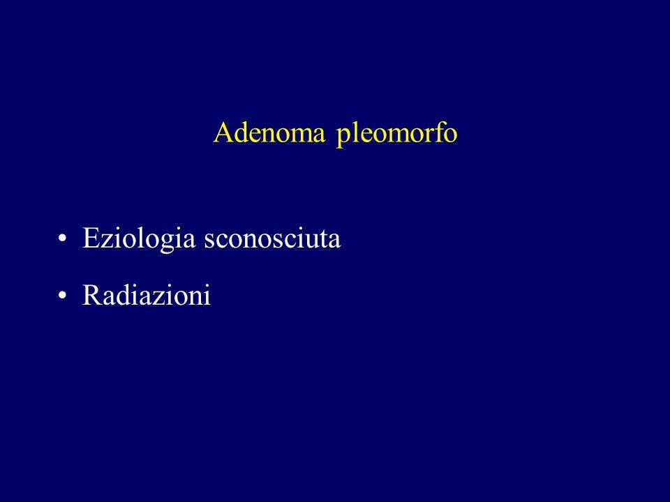 Adenoma pleomorfo Eziologia sconosciuta Radiazioni