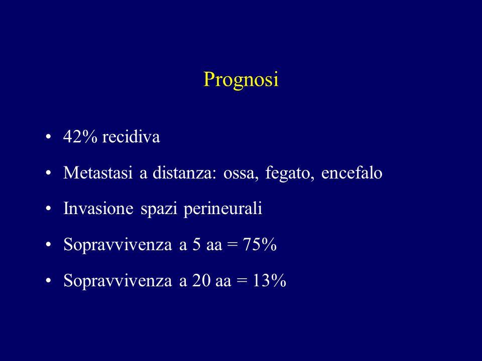Prognosi 42% recidiva Metastasi a distanza: ossa, fegato, encefalo