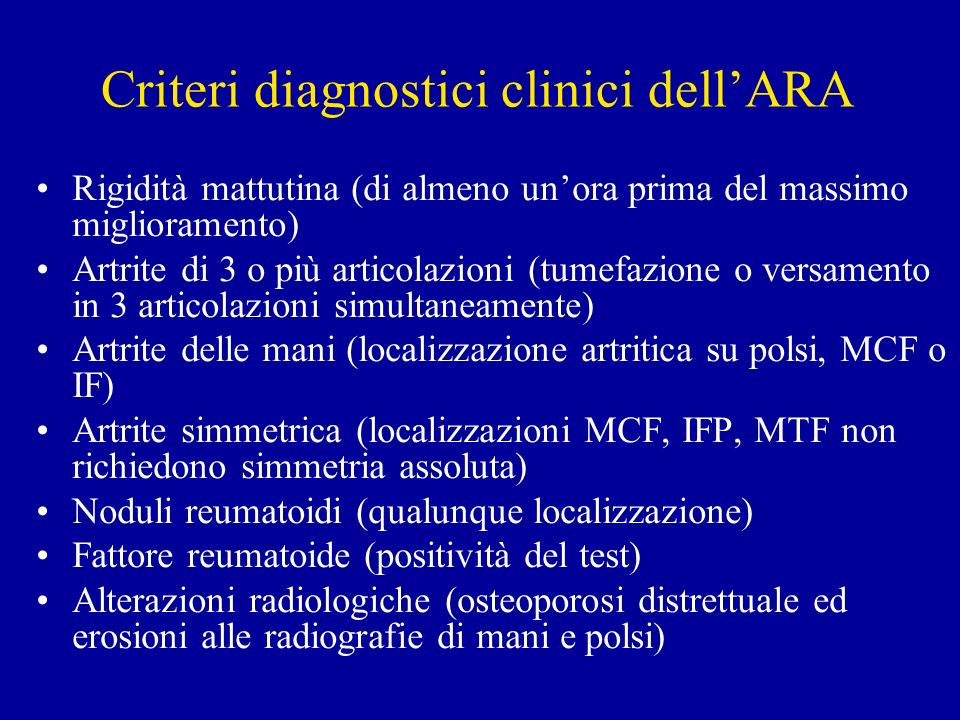 Criteri diagnostici clinici dell'ARA