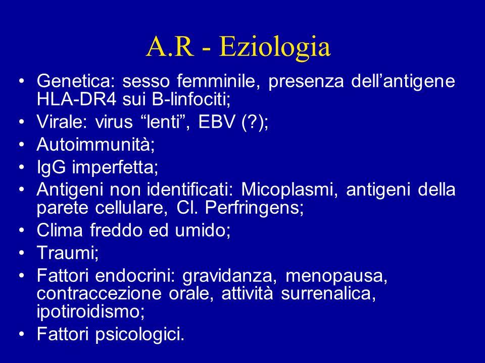 A.R - Eziologia Genetica: sesso femminile, presenza dell'antigene HLA-DR4 sui B-linfociti; Virale: virus lenti , EBV ( );