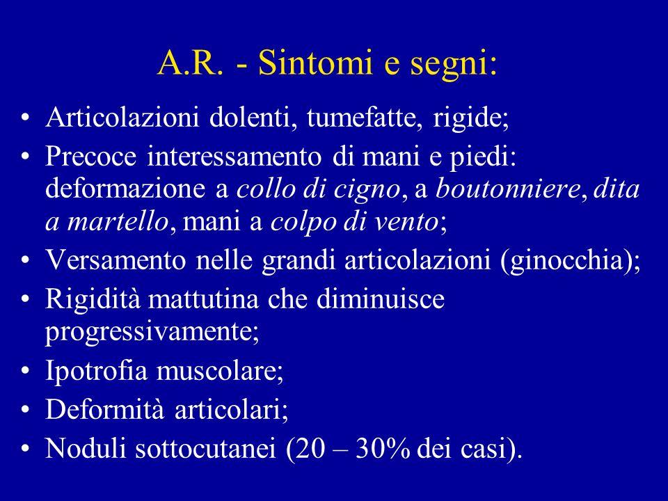 A.R. - Sintomi e segni: Articolazioni dolenti, tumefatte, rigide;