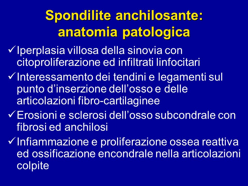 Spondilite anchilosante: anatomia patologica