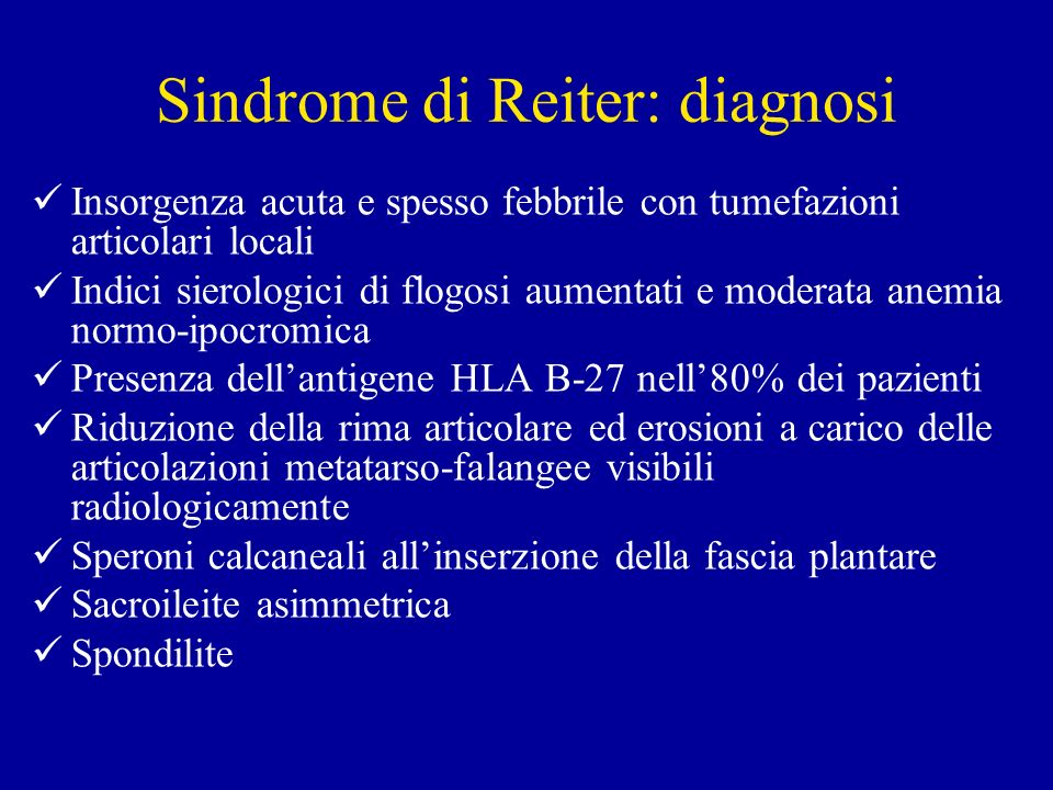 Sindrome di Reiter: diagnosi