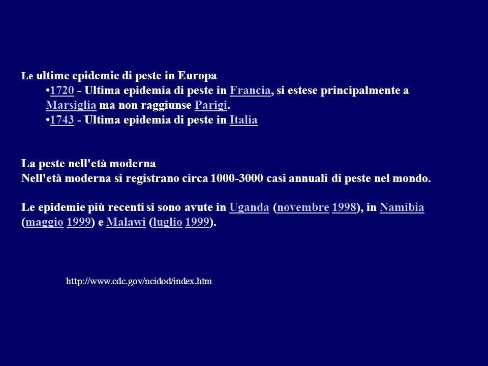 1743 - Ultima epidemia di peste in Italia