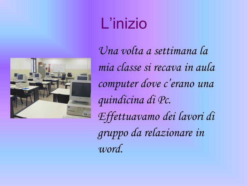 L'inizio Una volta a settimana la mia classe si recava in aula