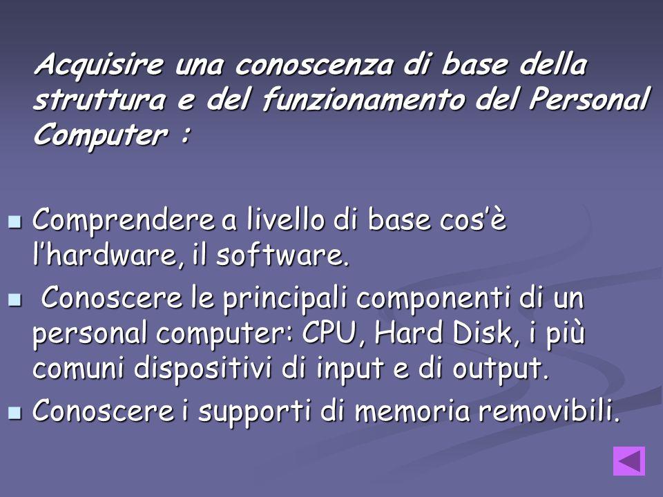 Acquisire una conoscenza di base della struttura e del funzionamento del Personal Computer :