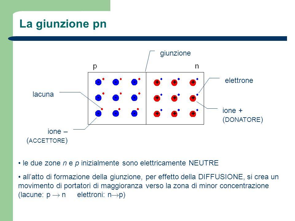 La giunzione pn giunzione elettrone lacuna ione + (DONATORE) ione –
