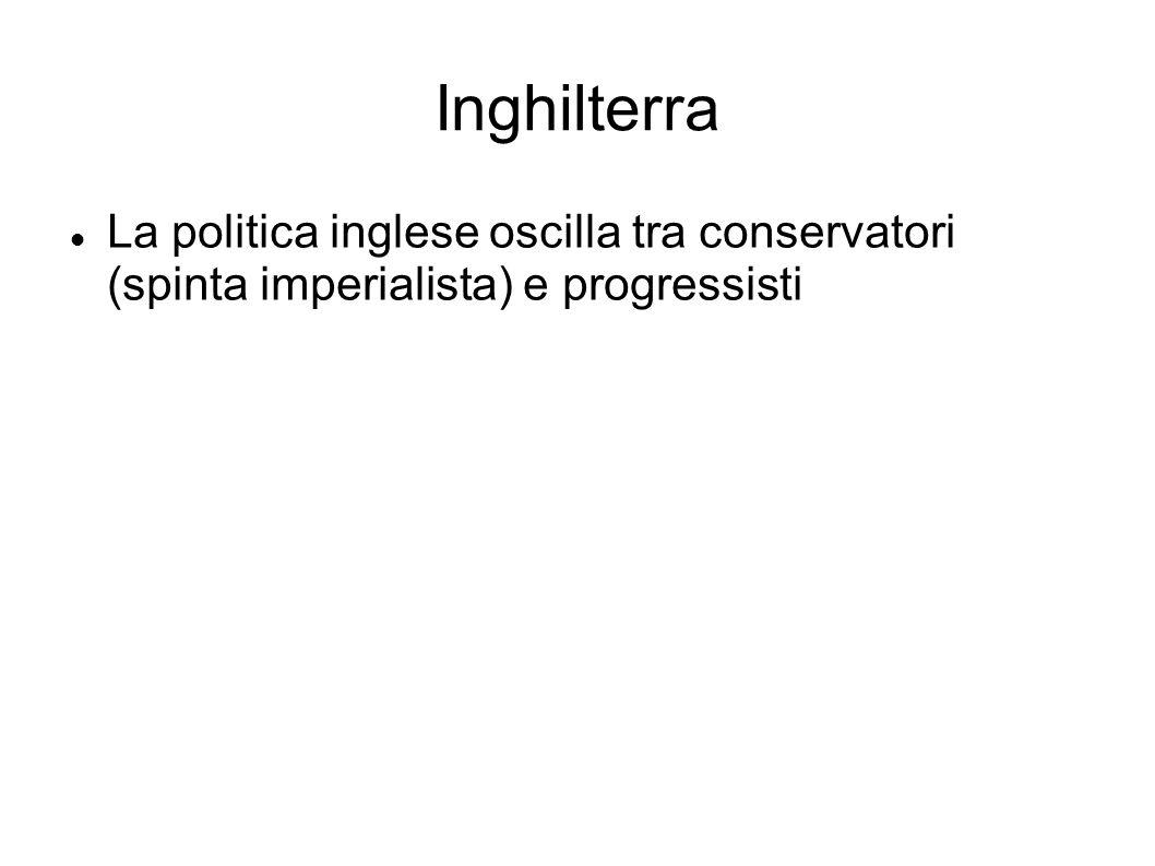 Inghilterra La politica inglese oscilla tra conservatori (spinta imperialista) e progressisti