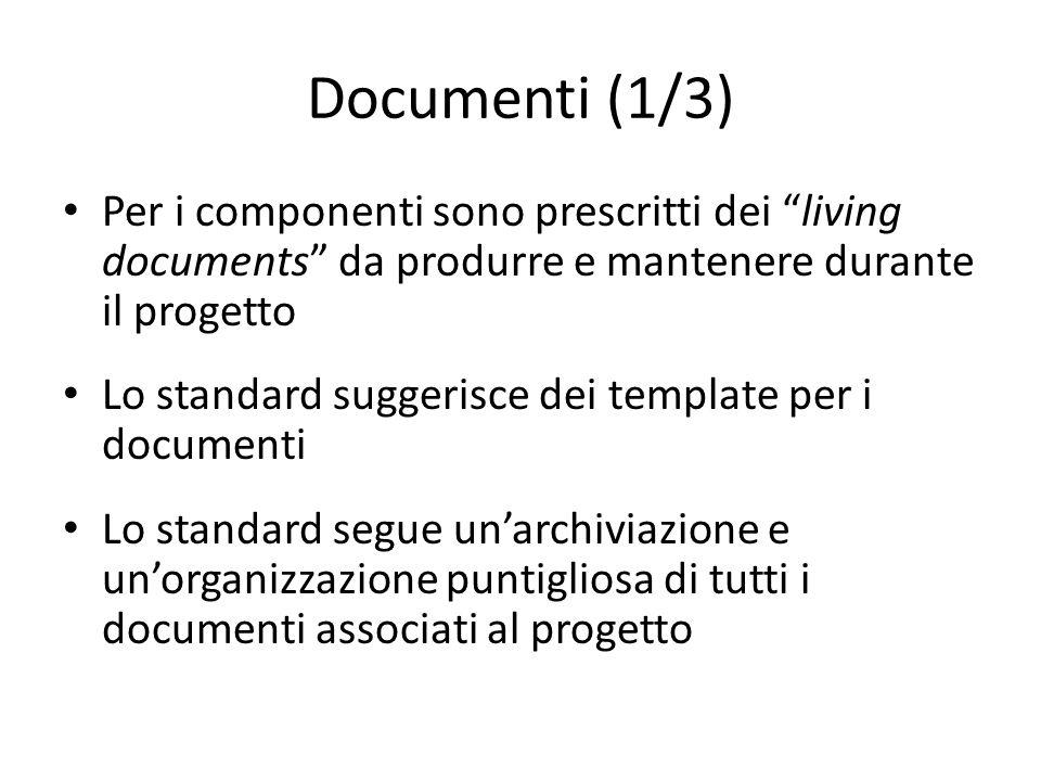 Documenti (1/3) Per i componenti sono prescritti dei living documents da produrre e mantenere durante il progetto.