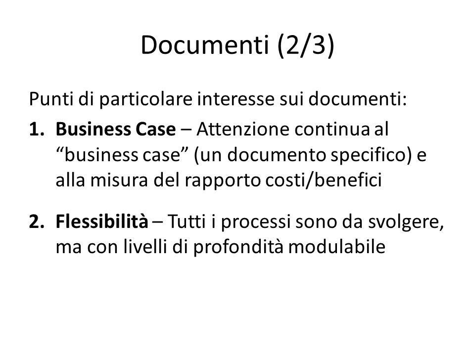 Documenti (2/3) Punti di particolare interesse sui documenti: