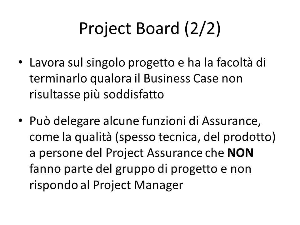 Project Board (2/2) Lavora sul singolo progetto e ha la facoltà di terminarlo qualora il Business Case non risultasse più soddisfatto.