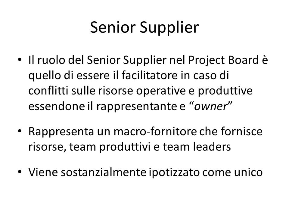 Senior Supplier