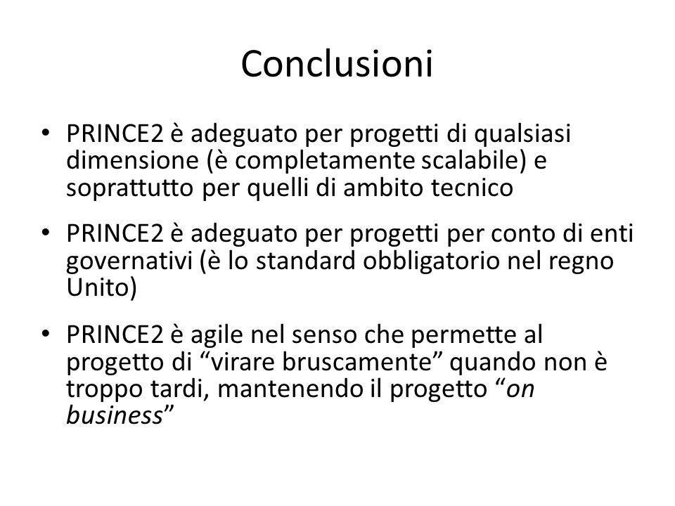 ConclusioniPRINCE2 è adeguato per progetti di qualsiasi dimensione (è completamente scalabile) e soprattutto per quelli di ambito tecnico.