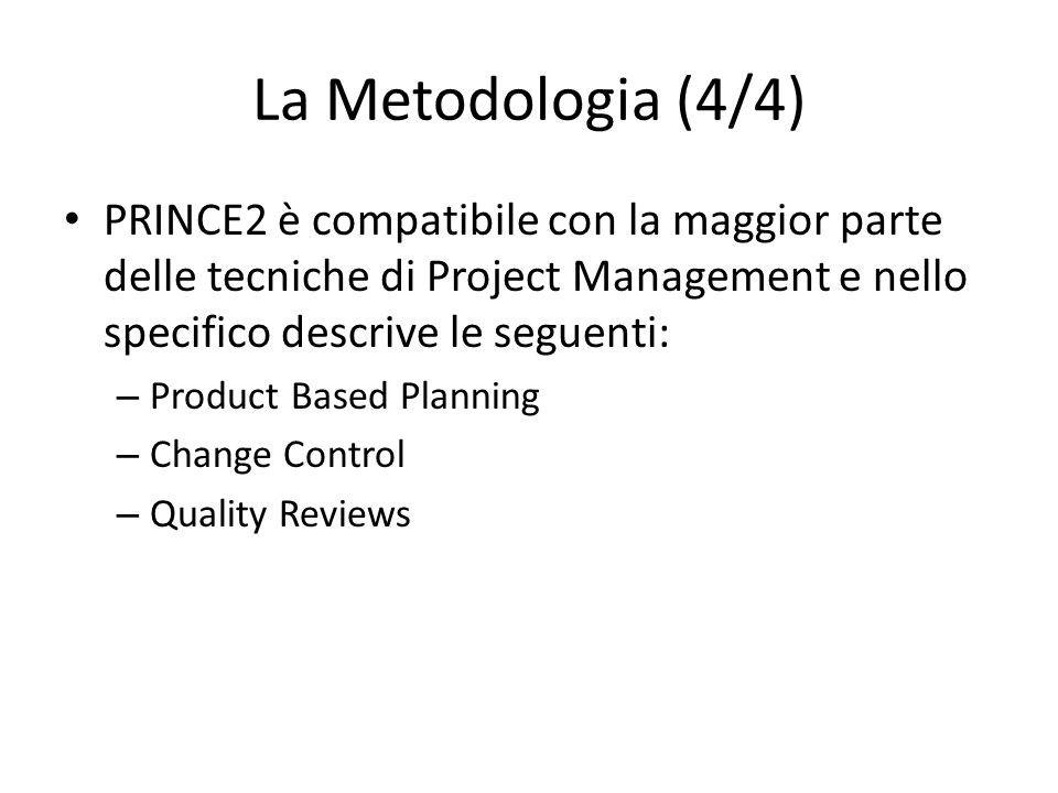 La Metodologia (4/4) PRINCE2 è compatibile con la maggior parte delle tecniche di Project Management e nello specifico descrive le seguenti:
