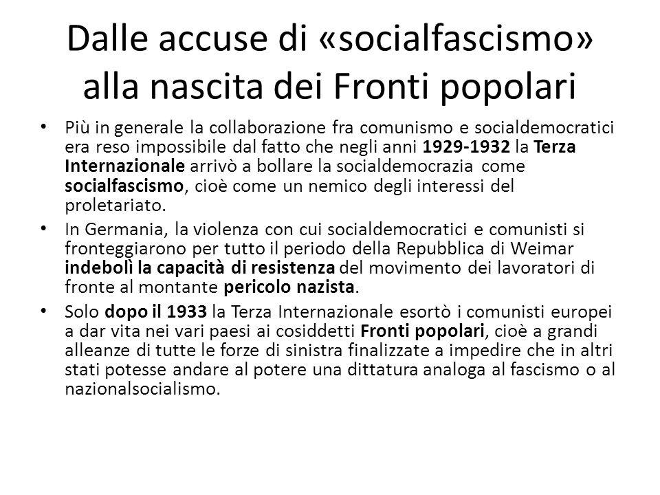 Dalle accuse di «socialfascismo» alla nascita dei Fronti popolari