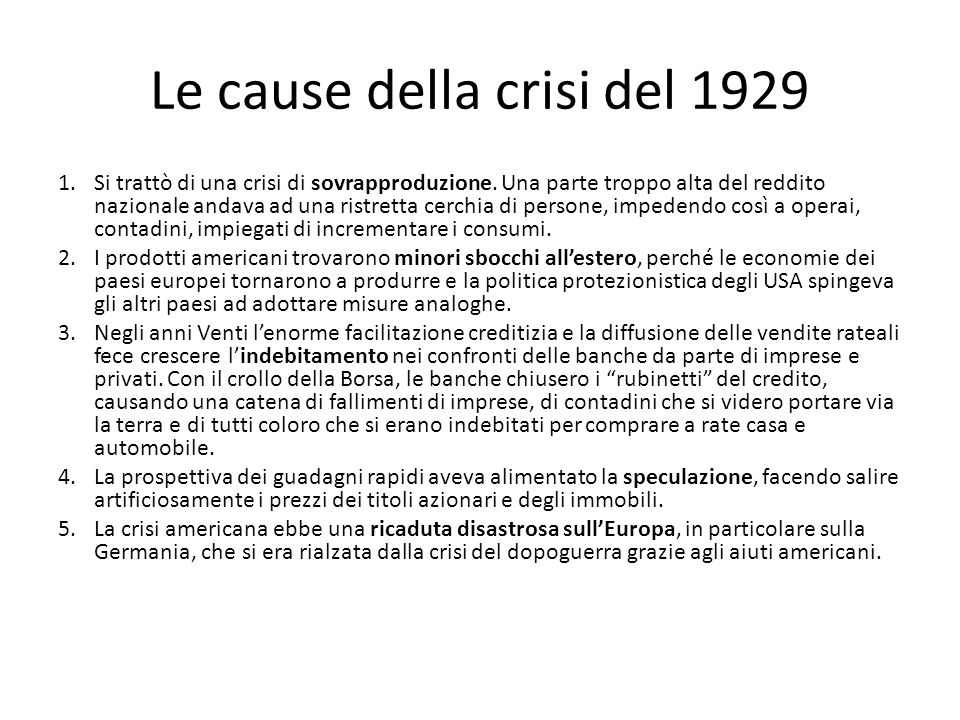 Le cause della crisi del 1929