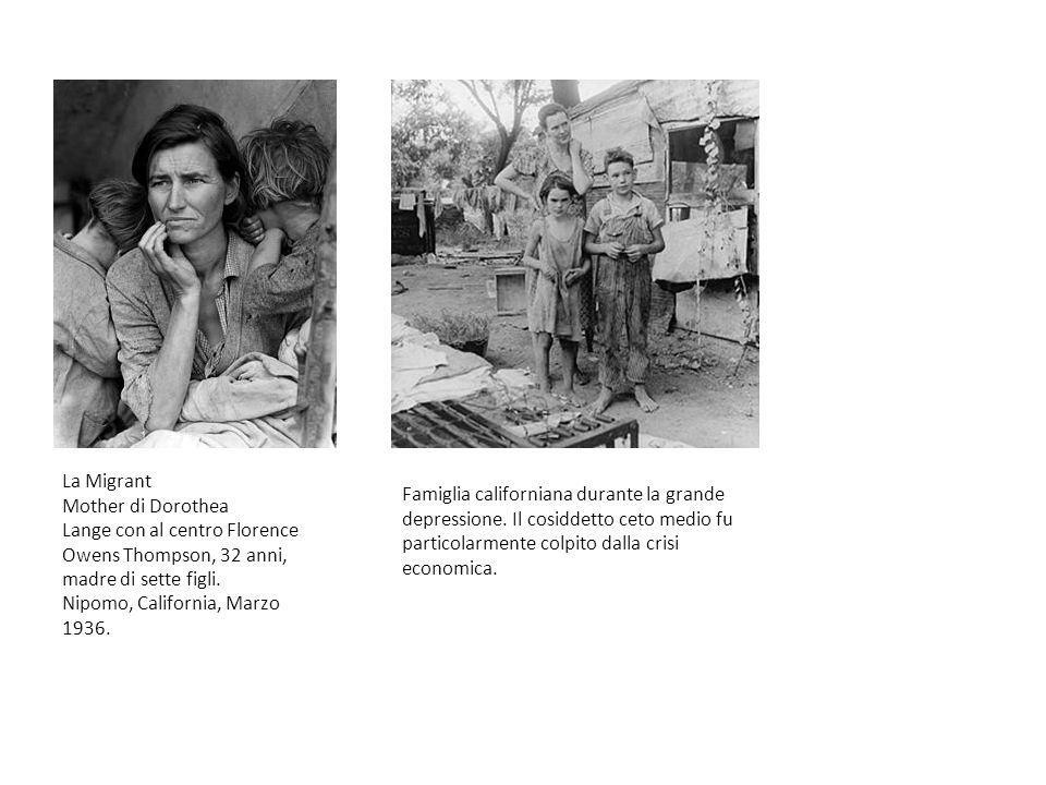 La Migrant Mother di Dorothea Lange con al centro Florence Owens Thompson, 32 anni, madre di sette figli. Nipomo, California, Marzo 1936.