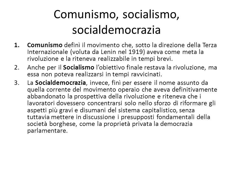 Comunismo, socialismo, socialdemocrazia