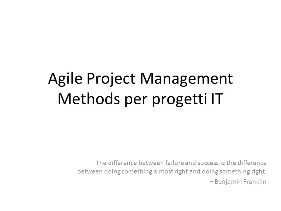 Agile Project Management Methods per progetti IT