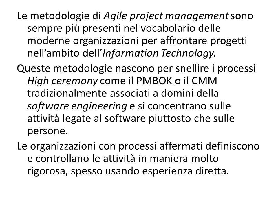 Le metodologie di Agile project management sono sempre più presenti nel vocabolario delle moderne organizzazioni per affrontare progetti nell'ambito dell'Information Technology.