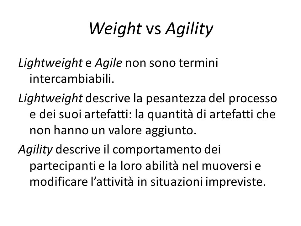 Weight vs Agility