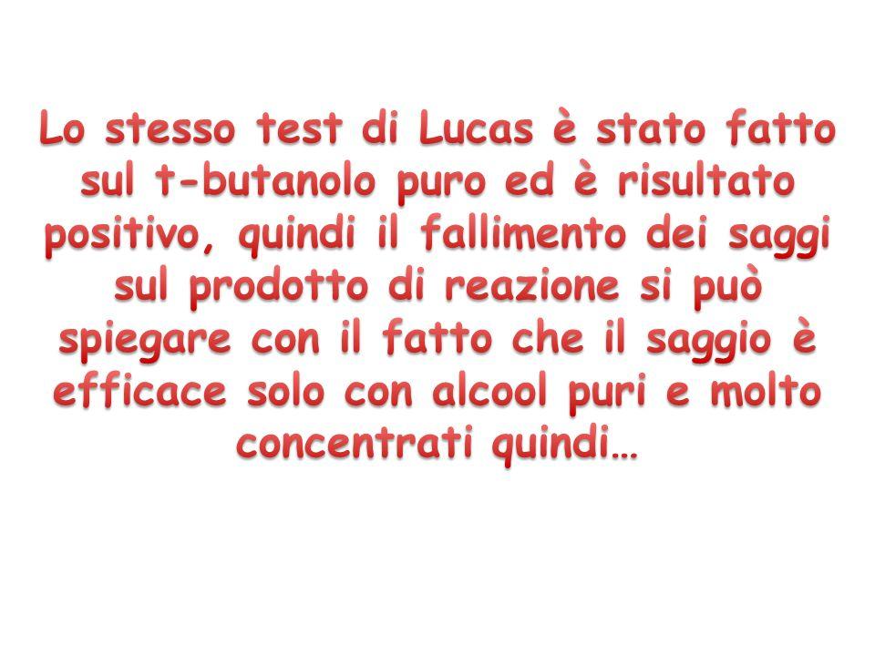 Lo stesso test di Lucas è stato fatto sul t-butanolo puro ed è risultato positivo, quindi il fallimento dei saggi sul prodotto di reazione si può spiegare con il fatto che il saggio è efficace solo con alcool puri e molto concentrati quindi…