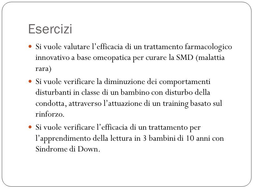 Esercizi Si vuole valutare l'efficacia di un trattamento farmacologico innovativo a base omeopatica per curare la SMD (malattia rara)