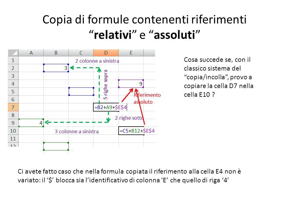 Copia di formule contenenti riferimenti relativi e assoluti