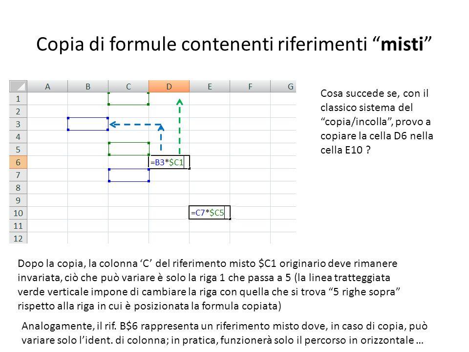 Copia di formule contenenti riferimenti misti