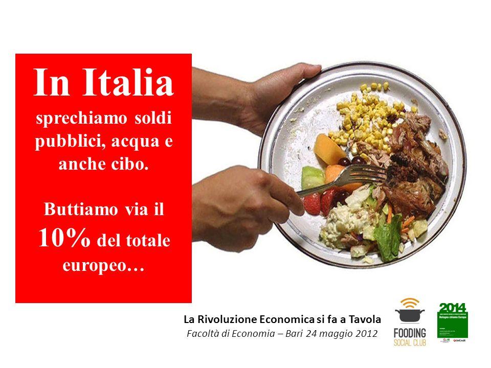 In Italia sprechiamo soldi pubblici, acqua e anche cibo.