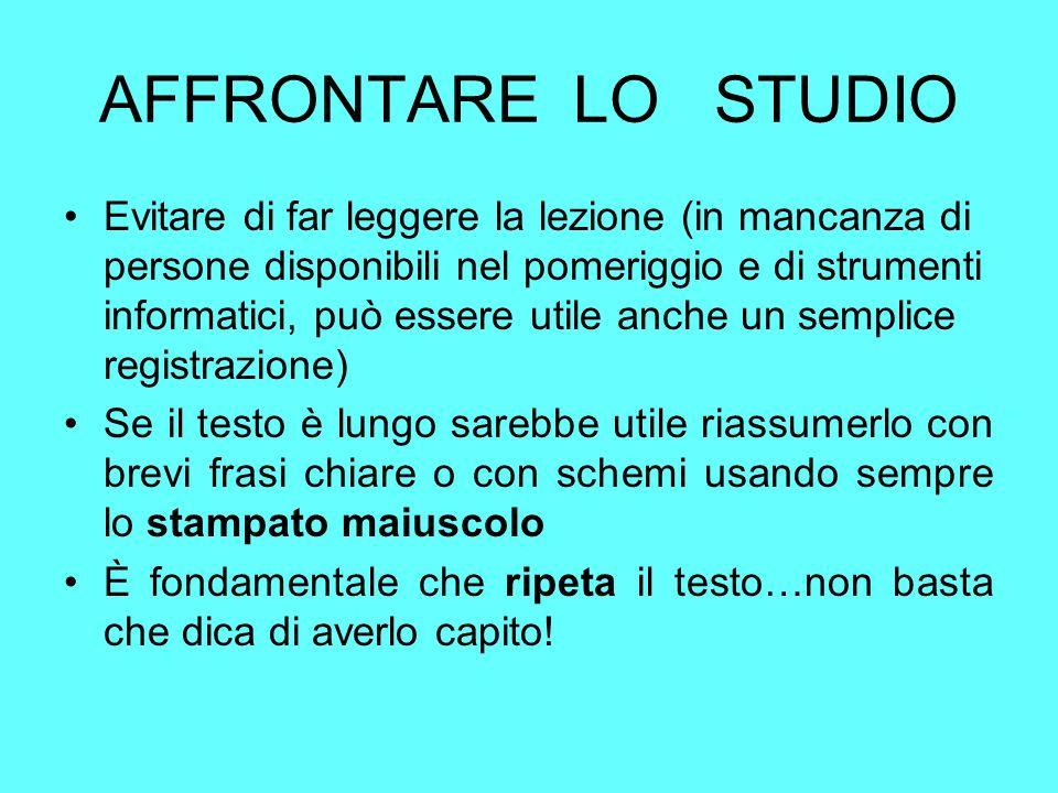 AFFRONTARE LO STUDIO