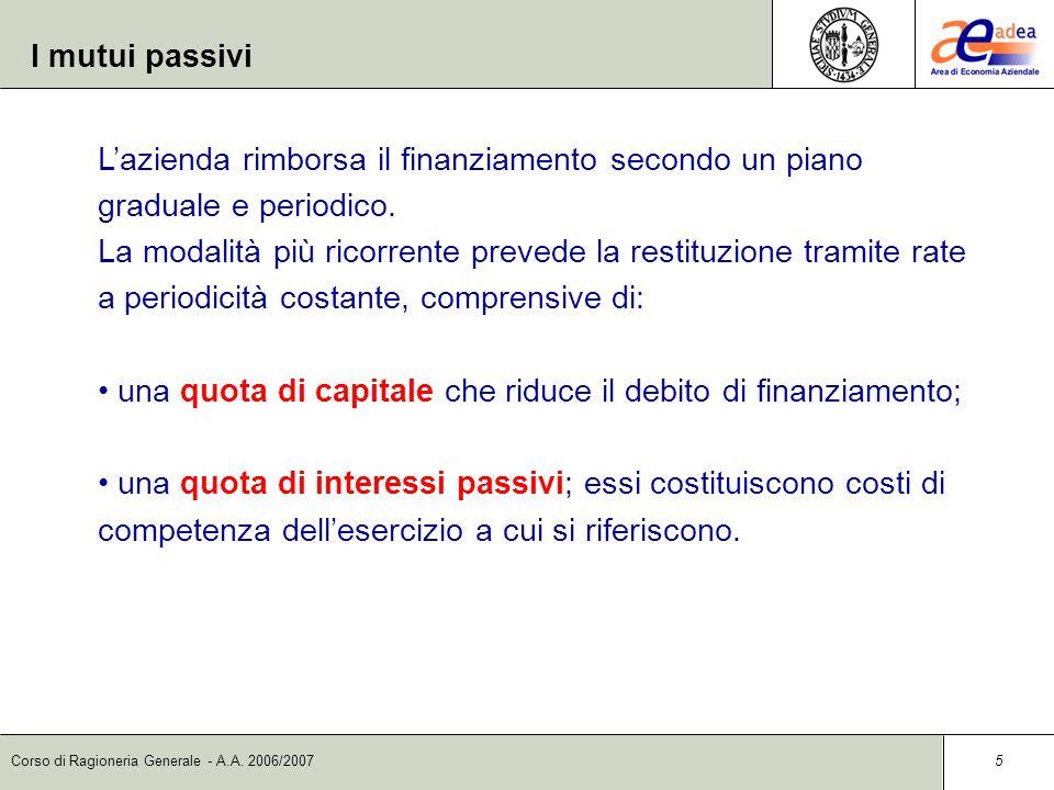 I mutui passivi L'azienda rimborsa il finanziamento secondo un piano graduale e periodico.