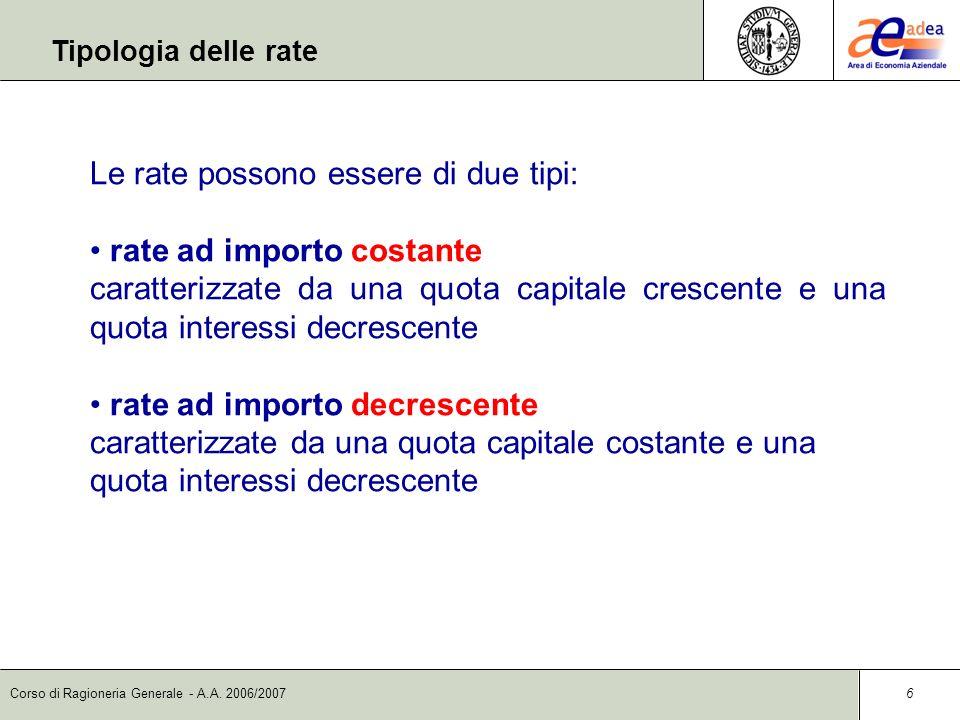 Le rate possono essere di due tipi: rate ad importo costante