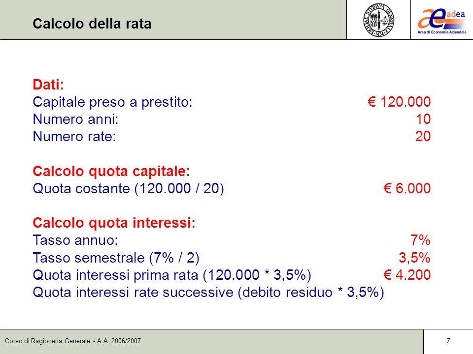 Calcolo della rata Dati: Capitale preso a prestito: € 120.000. Numero anni: 10. Numero rate: 20.