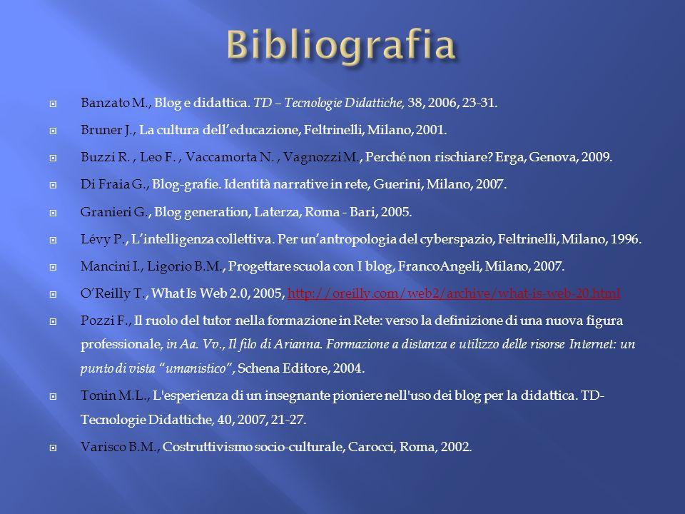BibliografiaBanzato M., Blog e didattica. TD – Tecnologie Didattiche, 38, 2006, 23-31.