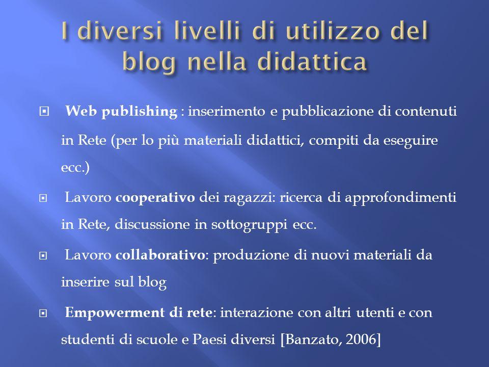 I diversi livelli di utilizzo del blog nella didattica