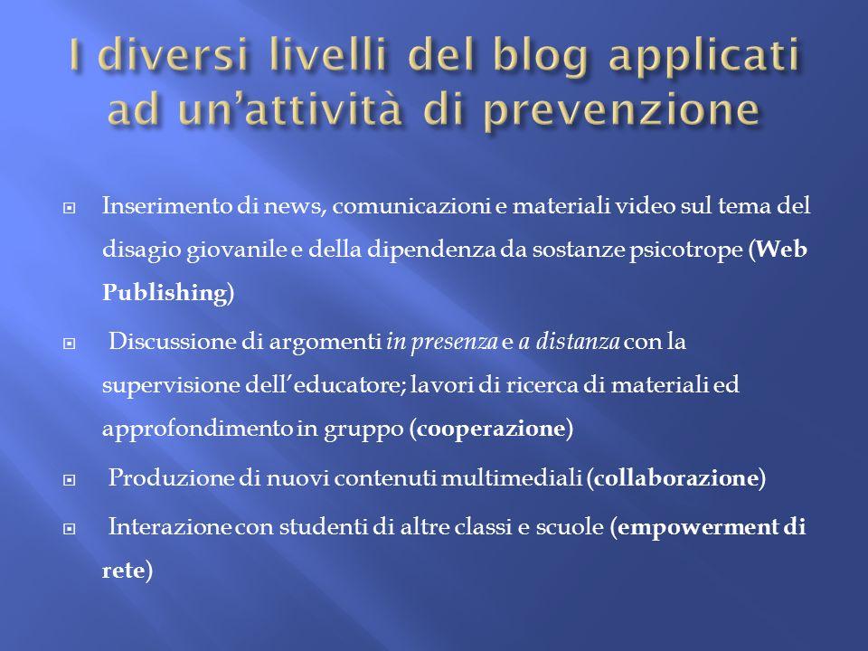 I diversi livelli del blog applicati ad un'attività di prevenzione