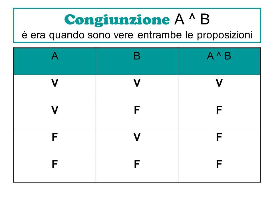Congiunzione A ^ B è era quando sono vere entrambe le proposizioni