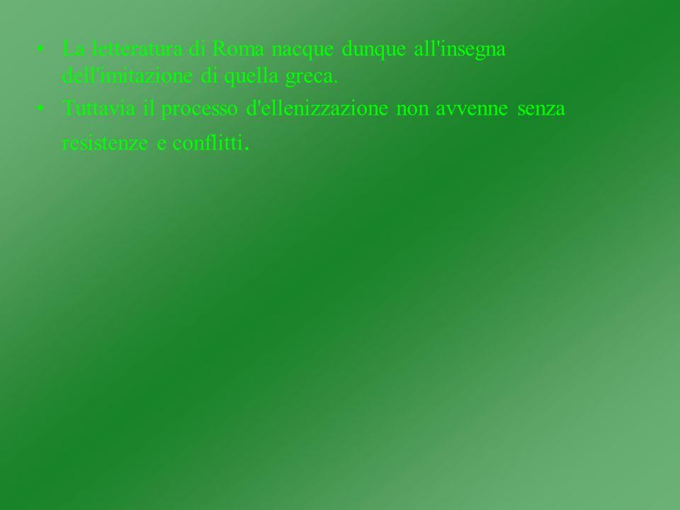 La letteratura di Roma nacque dunque all insegna dell imitazione di quella greca.